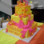 sweet 16 cake pink and orange