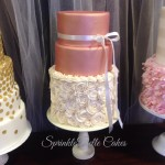 champagne rosette wedding cake