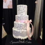 grey flower lace wedding cake