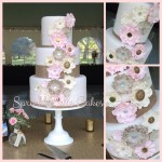 pink and gold button flower wedding cake