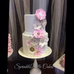 tan and pink flower wedding cake