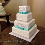 white silver square cake sp